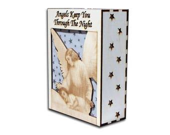 Guardian Angel - Night Light - lantern - angel light - laser cut light - christian night light - christian light - lantern - table latern
