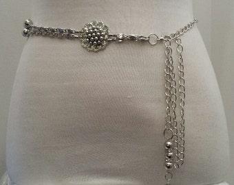 ANTIQUE SILVER Metal Chain Belt with Fringe, Boho chain belt