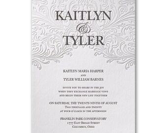 Elegant White Wedding Letterpress Cotton Invitations Includes Inner And Outer White Envelopes
