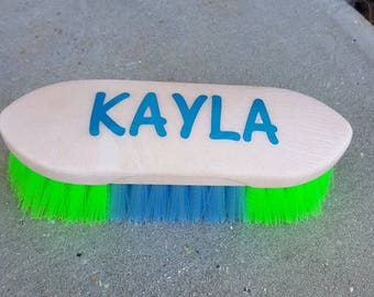 New *PERSONALIZED* NEON horse brush for Barn stable neon colors Horse Lover Gift
