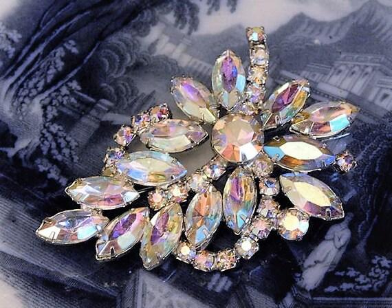 WEISS Rhinestone Brooch Aurora Borealis AB 1950s Mid Century Vintage Designer Signed Old Hollywood Wedding Bride Bridal Brooch Jewelry