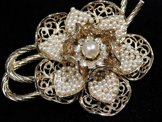 CORO Seed Pearl Brooch Mid Century 1950s 50s Wedding Bride Bridal Fashion Jewelry Gold Plated Filigree Flower Floral Brooch Mothers Day Mom