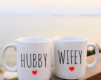 His and Hers | Hubby and Wifey Mugs | His and Hers Mugs | Hubby Mug | Wifey Mug | Newlyweds | Engaged | Wedding Gifts