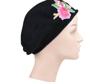 Ladies Black Cotton Beret Hat With an Embroidered Red & White Flower Bouquet Stylish Fashionable Comfortable Cotton Womens Hat Ladies Beret