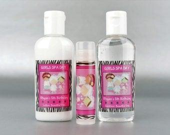 Personalized. Zebra Girl Spa Day. 1 oz lotion/sanitizer/lip balm set