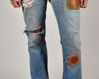 Vintage 1970's Worn In Patched and Embroidered LEE denim Jeans S2