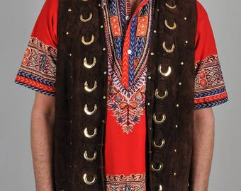 Vintage Late 60's Pioneer Wear Suede Fringe Hippie Vest S2