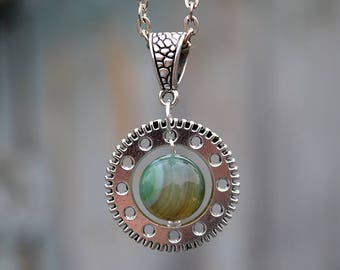 Green agate round pendant, Green agate metal pendant, Green agate fantasy pendant, Green agate gear pendant, Green agate steampunk pendant.