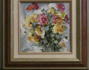 Oil Painting. Bouquet of fresh flowers. Floral. Original. Signed