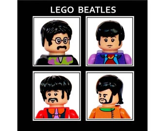 LEGO greeting card, THE BEATLES, blank for your own message,  6 x 6 inches