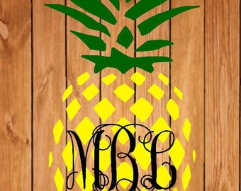 pineapple monogram decal, pineapple decal, monogram decal, fruit decal, pineapple sticker, monogram sticker, yeti decal, laptop decal, fruit