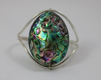 Sterling Silver Abalone Shell Cuff Bracelet