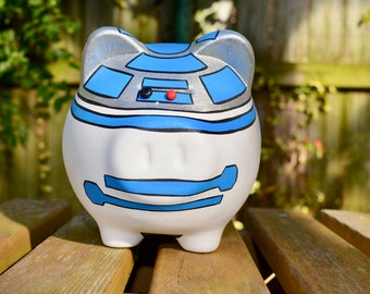 Authentic Mexican Handpaitned Piggy Bank // Artisan Made Star Wars Piggy Bank // R2D2 Piggy Bank