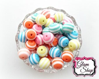 20mm Easter Beads - Stripe Beads - Pastel Stripe Bead (Mix Colors, Paired) - Chunky Beads - Bubblegum Beads 10pcs DIY
