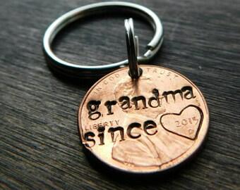 Custom Grandma Since Lucky Penny Keychain. Gigi, Mimi, Nana, Gramma, Granny,Grandma Gift, Mother's Day, Best Selling Items, Grandparent Gift