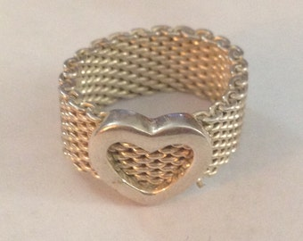 Cute sterling silver mesh with heart ring size 5.25