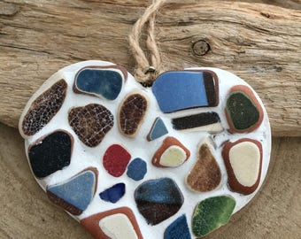 Small Scottish Sea Pottery mosaic  hanging heart in terracottas