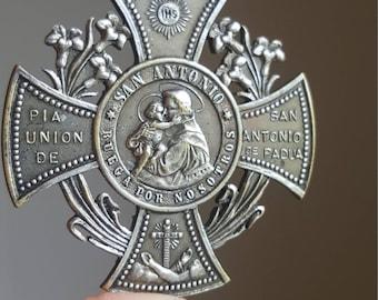 Antique Spanish Saint Anthony Medal Pendant Pope Leo XIII Catholic Jewelry St. Anthony I00 Days of Indulgence Tribe of Judah