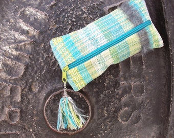 Pencil cases hand-woven, boho, pastel blue green grey, cotton chenille, tassel pendant, pins, Crimea stuff, mini bags, ooak