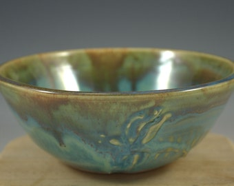 Handmade Turquoise Dragonfly Bowl with Brown Accents - Cereal Bowl - Serving Bowl - SECOND - ready to ship