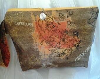 Capricorn bag, Zodiac Project bag, Zippered Cap bag, Wedge bag, Crochet bag, Capricorn DPN