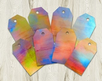 Printable Watercolour Tags, Gift Tag, Rainbow Favour Tags, 4x2.25, Instant Download
