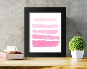 Ombre Pink Brushstrokes Abstract Print, Printable Wall Art, Modern Decor, Pink Nursery Print, Instant Download