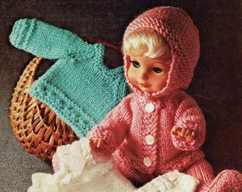 PDF Vintage Dolls Clothes Knitting Pattern 1970s Bronte 717 Baby Doll, Pull Ups, Leggings, Matinee, Bonnet Vest Kitsch Rose Bud Tiny Tears