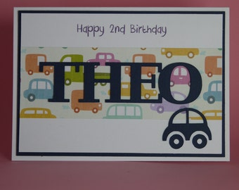 Personalised Handmade Cars Boys Birthday card with Name, boys 1st birthday card, personalised 1st birthday card, cars birthday card,