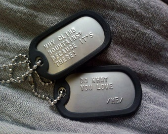 2 sets Military Army Dog Tags Chain With FREE custom engraved  text 2pcs