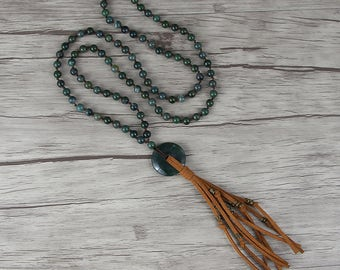 Long tassel necklace Ocean Grass Agate beads necklace Gemstone Pendent Necklace  Suede Tassel necklace bead boho necklace Jewelry NL-034