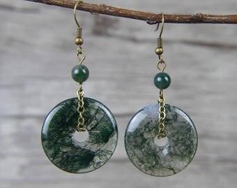 Chain Earrings Green Peace buckle Earrings Ocean grass agate beads Earrings Drop Beads Earrings Boho Earrings Beads Earrings ED-041