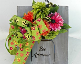 Tabletop Sign - Floral Arrangement - Rustic Sign - Rustic Arragment - Desktop Sign - Farmhouse Decor - Housewarming Gift - Newlywed Gift