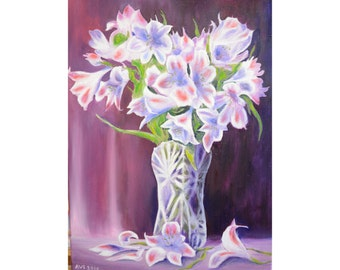 "Original 12*16"" oil painting ""Lily"" vertical paintings, flowers painting, still life, floral art, wall art, fine art, modern art, classical"
