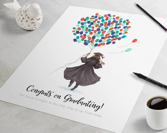 Graduation Guest Book - fingerprint guest book for graduation gift similar to fingerprint tree.  graduation gift, graduation party