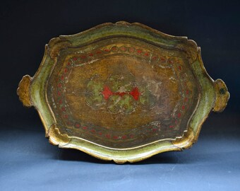 Italian Florentine wooden tray/Handpainted Vintage Tray/Florentine tray/Vintage tray/Home decor/Florentine tray/Gift idea