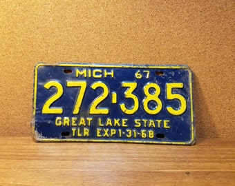 Vintage Michigan 1967 License Plate Blue and Yellow