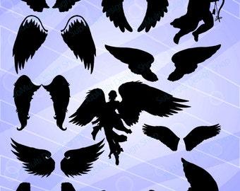 angel Silhouette / svg files / angel clipart / High Quality/ wings silhouette  / angel wings clipart / EPS / angel black silhouette /digital