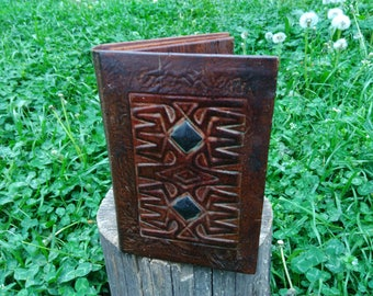 Vintage Leather Case for Notebook / Handmade Leather Notebook Case / Leather Notebook Cover /  Embrossed Leather / Hand Tooled Leather