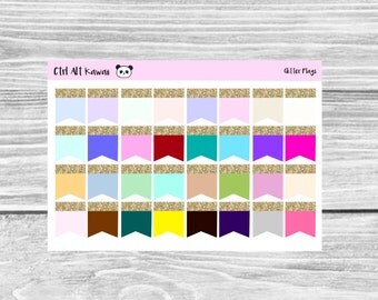 Multicolor Glitter Top Page Flags Planner Stickers