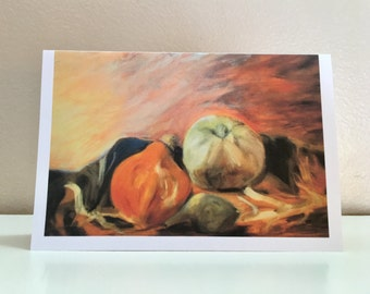 Blank 4x6 Thanksgiving/Fall/Autumn Greeting/Note Card, Harvested Gourds, Digital Print of Original Oil Painting, Envelope/Cellophane Sleeve