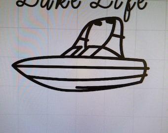 Lake Life Decal, Skiboat Decal, Lake Skiboat Sticker, Skiboat Vinyl Decal, Skiboat Lake Life Vinyl Decal, Skiboat Vinyl Decal