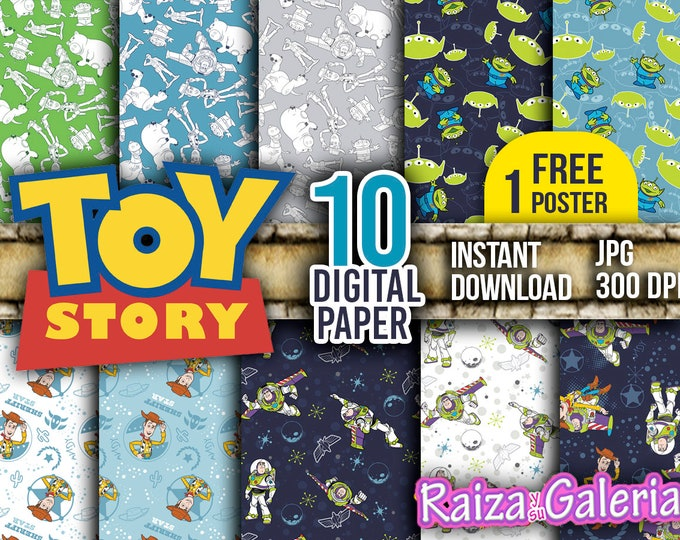 AWESOME Disney Toy Story Digital Paper. Instant Download - Scrapbooking - Toy Story Printable Paper + FREE POSTER