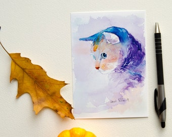 Blue cat postcard, print postcard
