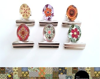 Klip-It Magnet Set: Red Patterned Ovals