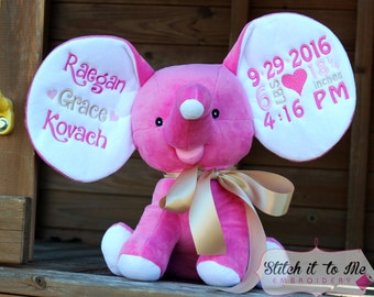 Embroidered Stuffed Elephant, Hot Pink, Stuffed Animal, Baby Shower Gift, Graduation, Baptism, Embroidered Cubbies Dumble