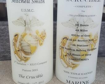 United States Marine Corps Crucible Candle Have it Personalized EGA USMC Crucible Facts on Back Lantern