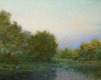 RIVER PAINTING Original Oil Painting by Ukrainian artist Reshetov R., Signed, Sky Clouds painting, Ukrainian Fine Art, High Quality