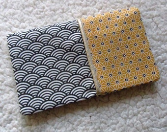 Checkbook in tissues in Japanese cotton vague pattern asanoha mustard yellow and Gold piping