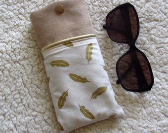 In printed fabric glasses case feathers Golden beige suede and Gold piping